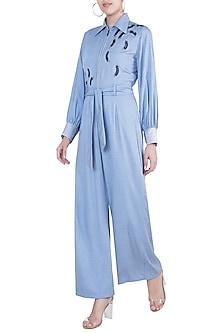 Powder blue Embroidered Jumpsuit with Belt by Gunu Sahni