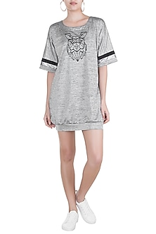 Grey Embellished T-Shirt Dress by Gunu Sahni