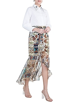 Brown Printed Skirt by Gunu Sahni