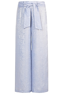 Powder Blue Shimmer Palazzo Pants With Tie-Up Belt by Gunu Sahni