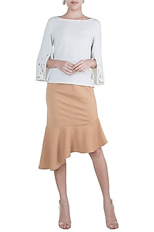 Taupe Brown Asymmetric Frill Skirt by Gunu Sahni