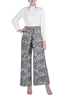 Grey & Black Printed Palazzo Pants by Gunu Sahni