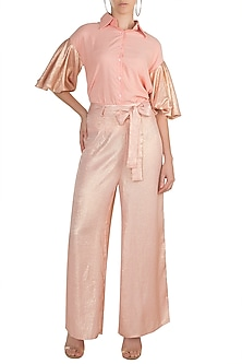 Peach Shirt With Shimmery Sleeves by Gunu Sahni