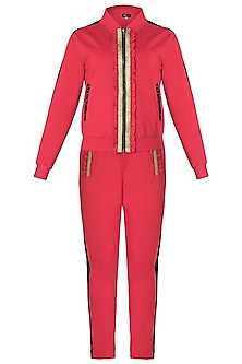 Red metallic jacket tracksuit by GUNU SAHNI