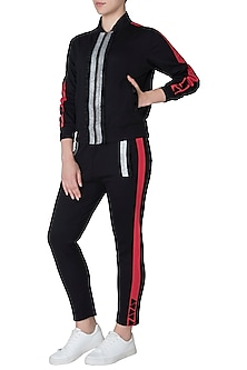 Black jacket tracksuit by GUNU SAHNI