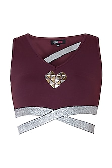 Wine embellished crop top