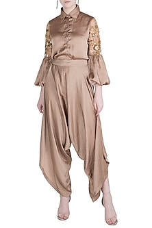 Bronze drape pants by GUNU SAHNI