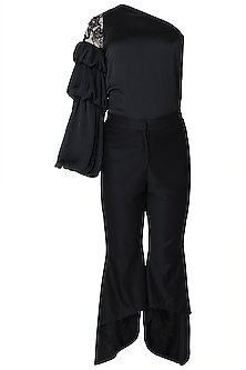 Black fit and flare pants