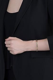 14Kt Gold Plated Love Track Tourmaline & Diamond Bracelet by Golden Gazelle Fine Jewellery