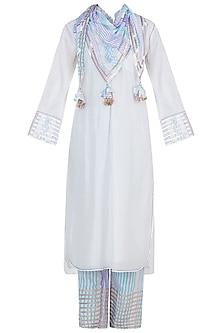 White Embroidered Printed Kurta Set by GOPI VAID