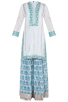 White Embroidered Printed Sharara Set by GOPI VAID
