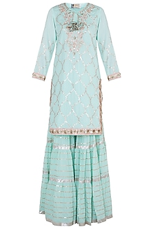 Mint & Baby Pink Embroidered Crinkled Sharara Set