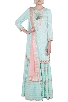 Mint & Baby Pink Embroidered Crinkled Sharara Set by GOPI VAID