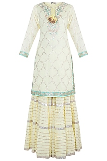 Yellow Embroidered Crinkled Sharara Set