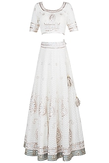 White & Pink Embroidered Printed Lehenga Set by GOPI VAID