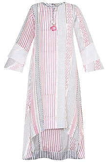 Pink & Grey Embroidered Printed Asymmetrical Long Tunic