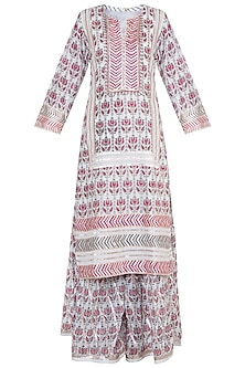 Multi Colored Embroidered Printed Gharara Set by GOPI VAID