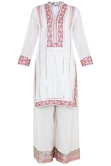 White Embroidered Printed Cotton Kurta Set