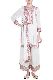 White Embroidered Printed Cotton Kurta Set by GOPI VAID