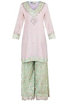 Pink & Green Embroidered Sharara Set