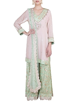Pink & Green Embroidered Sharara Set by GOPI VAID