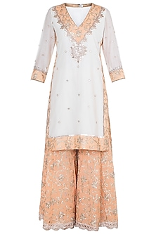 White & Orange Embroidered Sharara Set