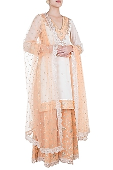 White & Orange Embroidered Sharara Set by GOPI VAID