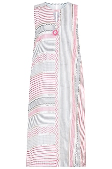 Pink & Grey Embroidered Block Printed Long Tunic by GOPI VAID