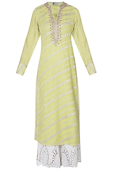 Lime green embroidered kurta