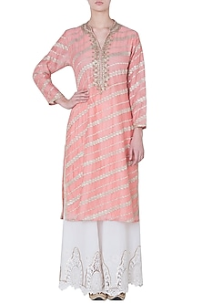 Peach embroidered kurta by GOPI VAID