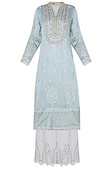 Grey zardosi embroidered kurta set