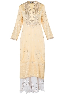 Yellow zardosi embroidered kurta set
