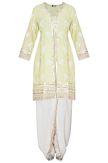 Lime green embroidered kurta set