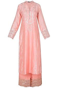 Peach embroidered kurta set