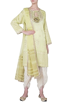 Green embroidered kurta set by GOPI VAID