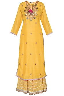 Yellow embroidered matka silk kurta set