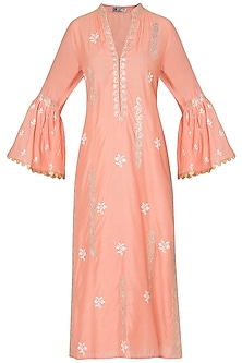 Orange embroidered kurta