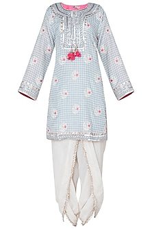 Grey floral embroidered kurta set