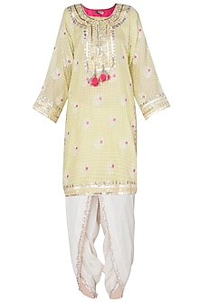 Yellow floral embroidered kurta set
