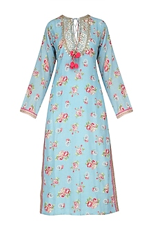 Sky Blue Floral Work Long Tunic