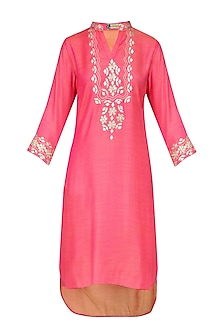 Pink Gota Patti Embroidered Short Kurta