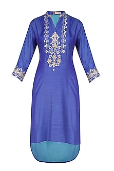 Blue Gota Patti Embroidered Short Kurta