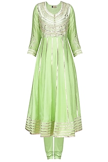 Green Embroidered Angarakha Kurta with Churidar Pants