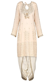 Baby Pink Embroidered Kurta with Dhoti Pants Set