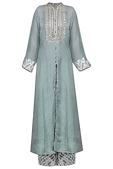 GREY EMBROIDERED FRONT OPEN KURTA WITH PANTS