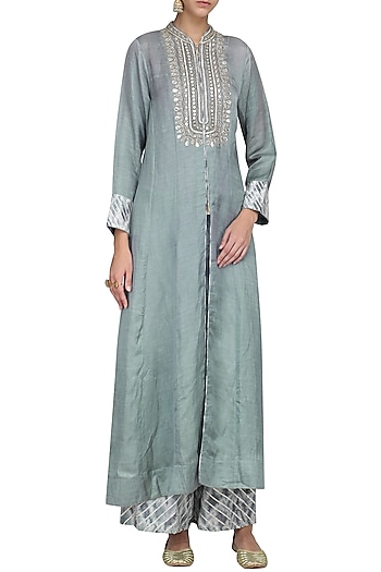 GREY EMBROIDERED FRONT OPEN KURTA WITH PANTS    by GOPI VAID