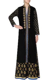Black Zardozi Embroidered Kurta with Palazzo Pants Set by GOPI VAID