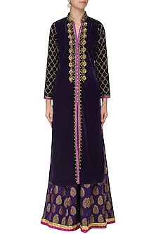 Purple Zardozi Embroidered Kurta with Palazzo Pants Set by GOPI VAID