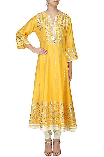 Mustard Toi Anarkali Set
