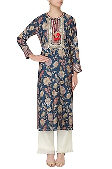 Teal Floral Embroidered Kurta